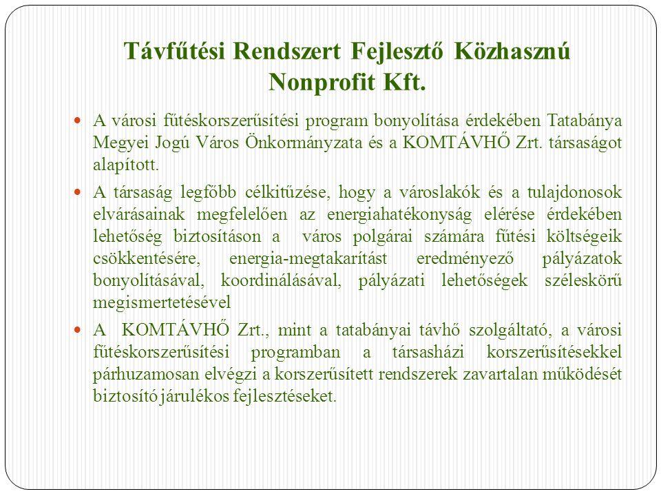 Távfűtési Rendszert Fejlesztő Közhasznú Nonprofit Kft. A városi fűtéskorszerűsítési program bonyolítása érdekében Tatabánya Megyei Jogú Város Önkormán