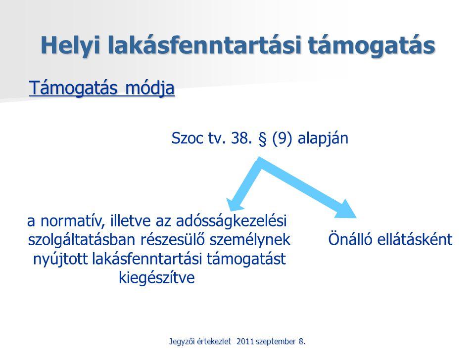 Jegyzői értekezlet 2011 szeptember 8. Helyi lakásfenntartási támogatás Támogatás módja Szoc tv. 38. § (9) alapján a normatív, illetve az adósságkezelé