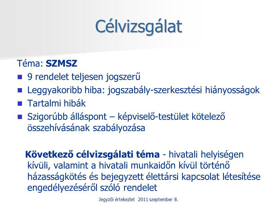 Jegyzői értekezlet 2011 szeptember 8. Célvizsgálat Téma: SZMSZ 9 rendelet teljesen jogszerű Leggyakoribb hiba: jogszabály-szerkesztési hiányosságok Ta