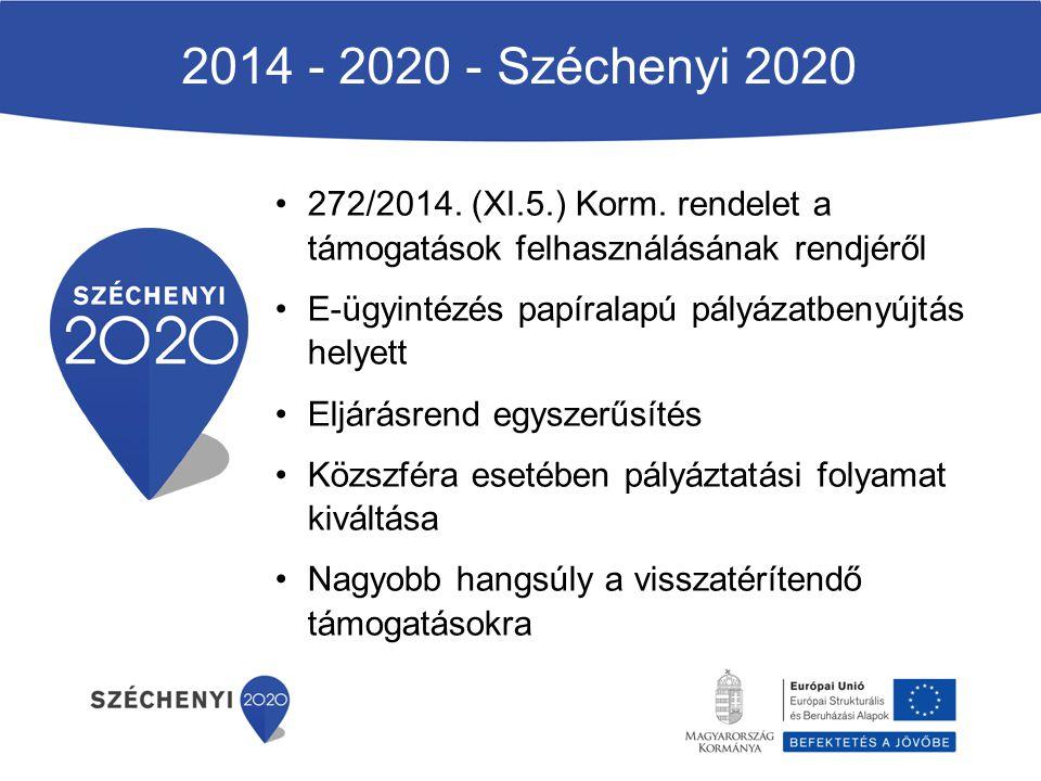 2014 - 2020 - Széchenyi 2020 272/2014. (XI.5.) Korm. rendelet a támogatások felhasználásának rendjéről E-ügyintézés papíralapú pályázatbenyújtás helye