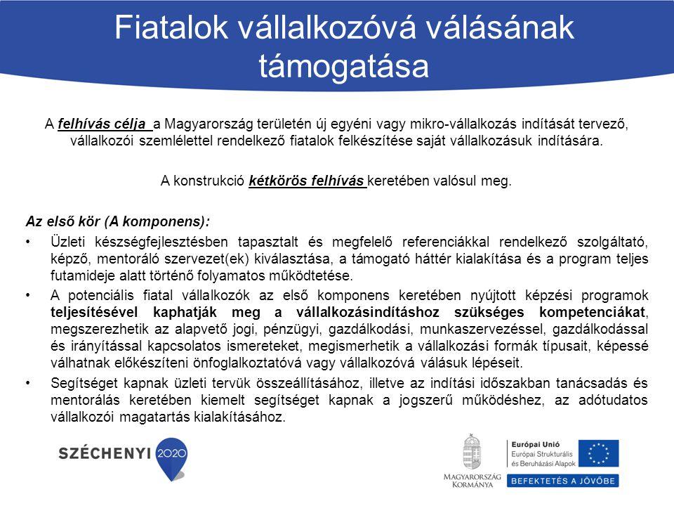 A felhívás célja a Magyarország területén új egyéni vagy mikro-vállalkozás indítását tervező, vállalkozói szemlélettel rendelkező fiatalok felkészítés