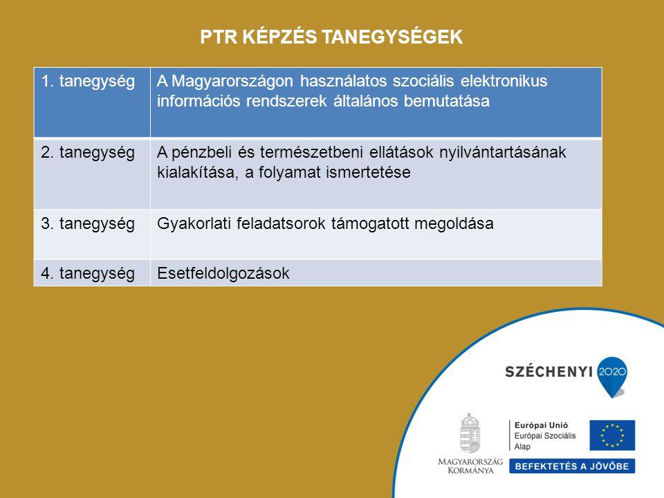 PTR KÉPZÉS TANEGYSÉGEK 1. tanegységA Magyarországon használatos szociális elektronikus információs rendszerek általános bemutatása 2. tanegységA pénzb
