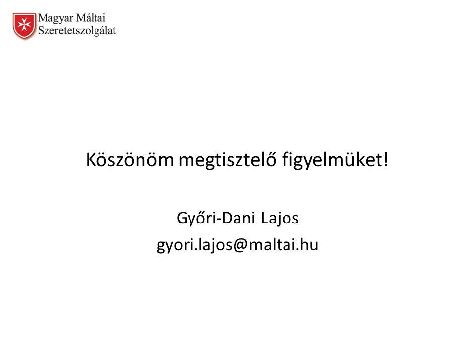 Köszönöm megtisztelő figyelmüket! Győri-Dani Lajos gyori.lajos@maltai.hu