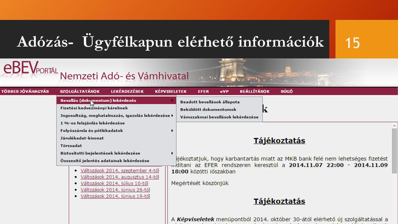 Adózás- Ügyfélkapun elérhető információk 15