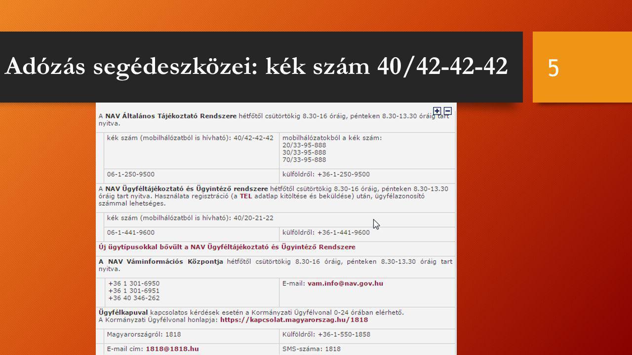 Adózás segédeszközei: kék szám 40/42-42-42 5