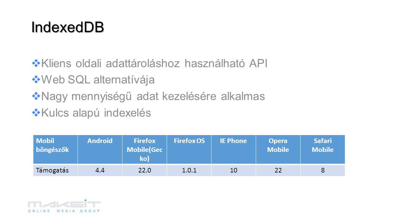  Kliens oldali adattároláshoz használható API  Web SQL alternatívája  Nagy mennyiségű adat kezelésére alkalmas  Kulcs alapú indexelés IndexedDB Mobil böngészők AndroidFirefox Mobile(Gec ko) Firefox OSIE PhoneOpera Mobile Safari Mobile Támogatás4.422.01.0.110228
