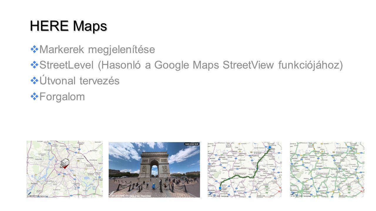 Markerek megjelenítése  StreetLevel (Hasonló a Google Maps StreetView funkciójához)  Útvonal tervezés  Forgalom