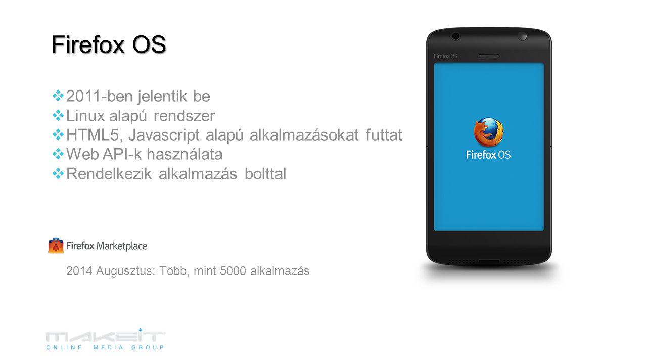 Firefox OS  2011-ben jelentik be  Linux alapú rendszer  HTML5, Javascript alapú alkalmazásokat futtat  Web API-k használata  Rendelkezik alkalmazás bolttal 2014 Augusztus: Több, mint 5000 alkalmazás