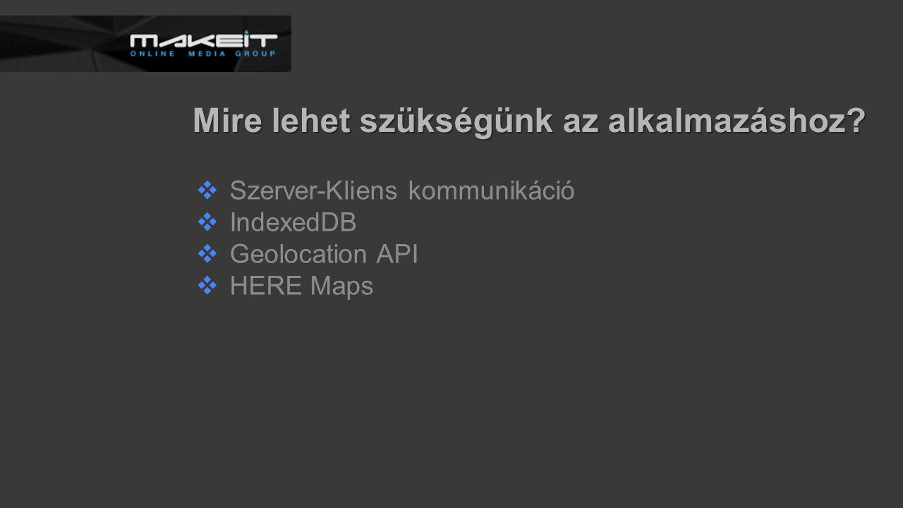 Mire lehet szükségünk az alkalmazáshoz?  Szerver-Kliens kommunikáció  IndexedDB  Geolocation API  HERE Maps