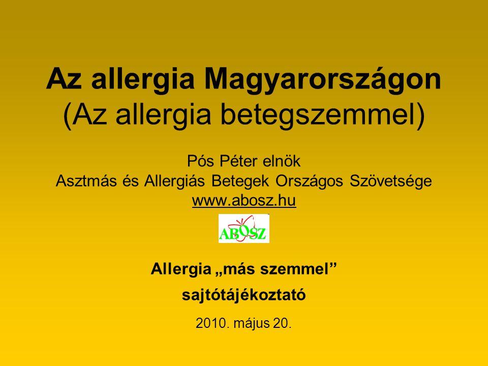 """Az allergia Magyarországon (Az allergia betegszemmel) Pós Péter elnök Asztmás és Allergiás Betegek Országos Szövetsége www.abosz.hu Allergia """"más szem"""