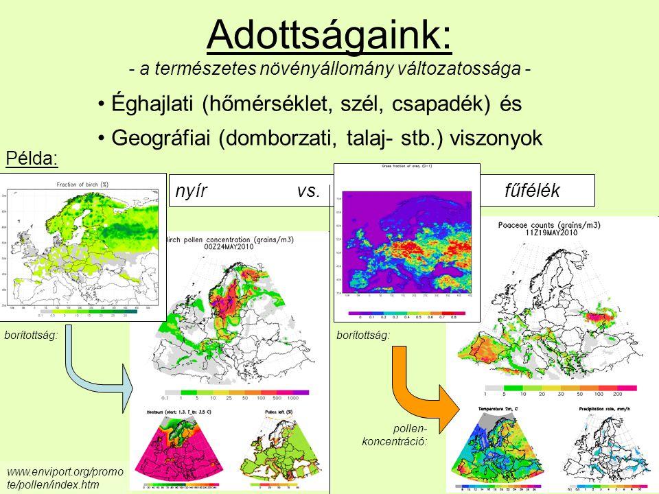 www.enviport.org/promo te/pollen/index.htm nyír vs. fűfélék Adottságaink: - a természetes növényállomány változatossága - Éghajlati (hőmérséklet, szél