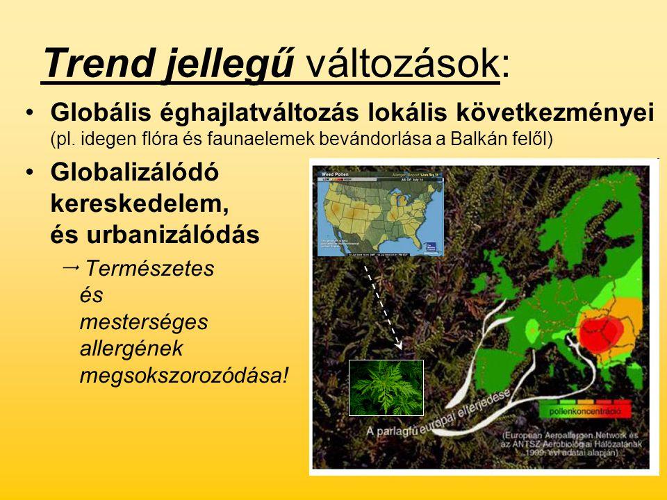 Trend jellegű változások: Globális éghajlatváltozás lokális következményei (pl. idegen flóra és faunaelemek bevándorlása a Balkán felől) Globalizálódó