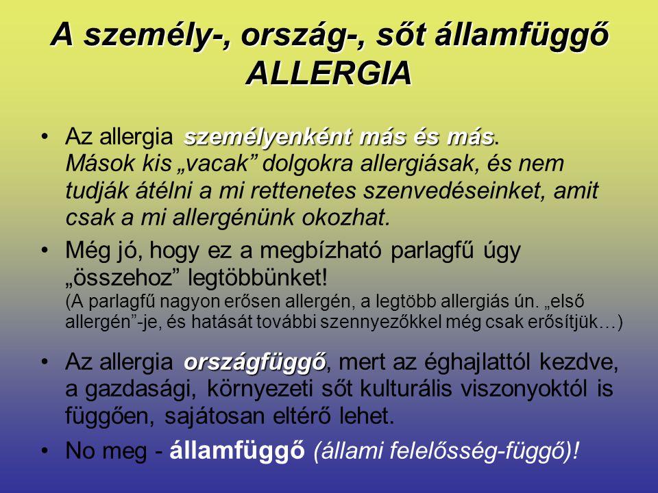 """A személy-, ország-, sőt államfüggő ALLERGIA személyenként más és másAz allergia személyenként más és más. Mások kis """"vacak"""" dolgokra allergiásak, és"""