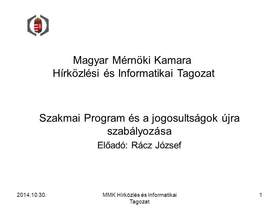 Magyar Mérnöki Kamara Hírközlési és Informatikai Tagozat Szakmai Program és a jogosultságok újra szabályozása Előadó: Rácz József 2014.10.30.MMK Hírkö
