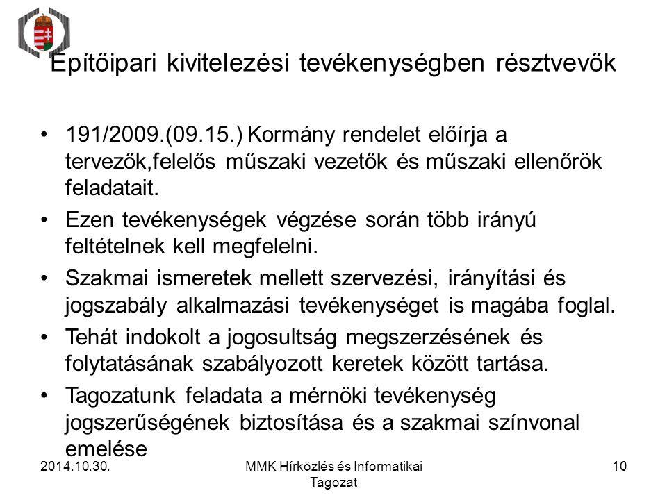 Építőipari kivitelezési tevékenységben résztvevők 191/2009.(09.15.) Kormány rendelet előírja a tervezők,felelős műszaki vezetők és műszaki ellenőrök f