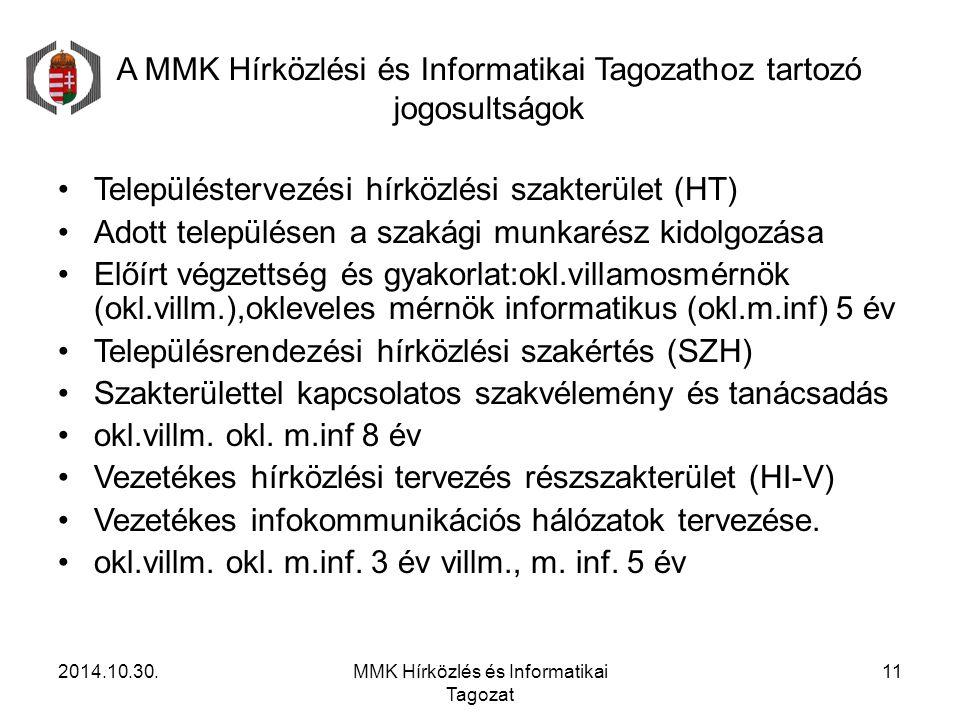 A MMK Hírközlési és Informatikai Tagozathoz tartozó jogosultságok Településtervezési hírközlési szakterület (HT) Adott településen a szakági munkarész