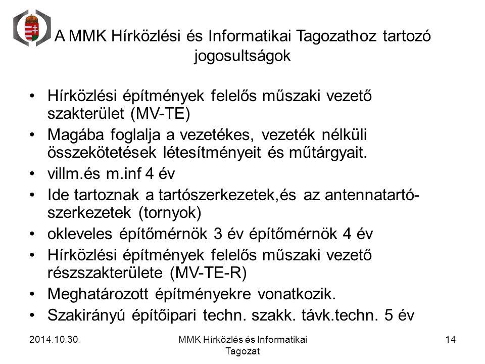 A MMK Hírközlési és Informatikai Tagozathoz tartozó jogosultságok Hírközlési építmények felelős műszaki vezető szakterület (MV-TE) Magába foglalja a v