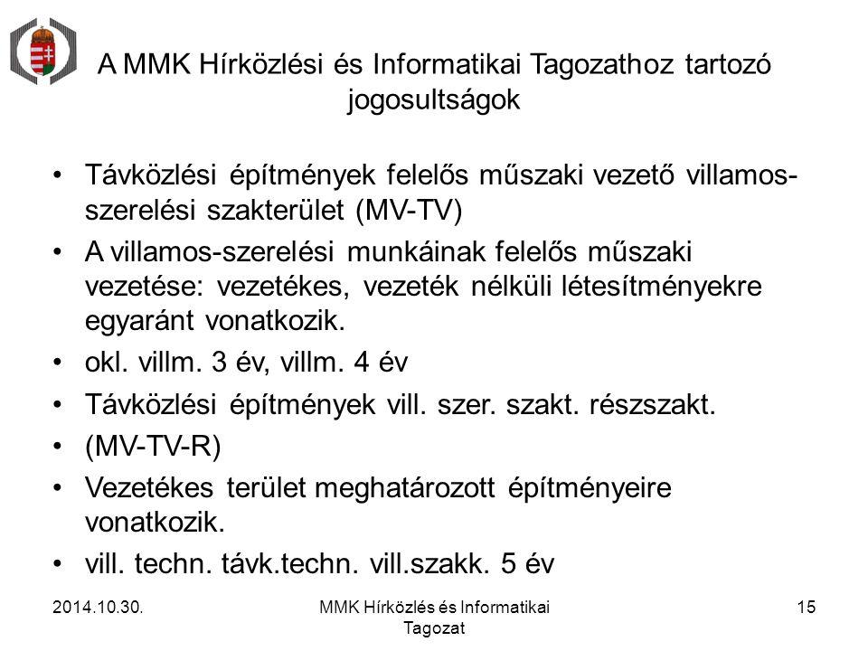 A MMK Hírközlési és Informatikai Tagozathoz tartozó jogosultságok Távközlési építmények felelős műszaki vezető villamos- szerelési szakterület (MV-TV)