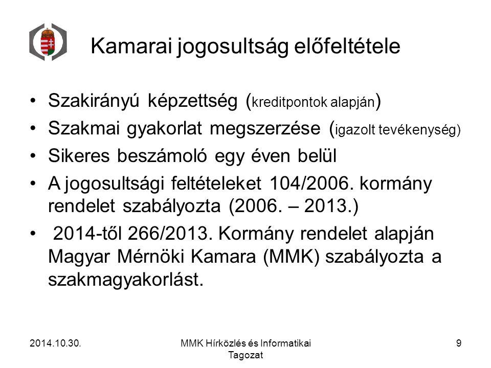 Kamarai jogosultság előfeltétele Szakirányú képzettség ( kreditpontok alapján ) Szakmai gyakorlat megszerzése ( igazolt tevékenység) Sikeres beszámoló