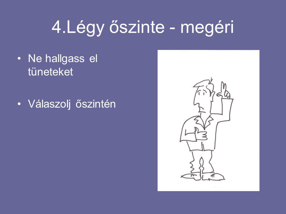 4.Légy őszinte - megéri Ne hallgass el tüneteket Válaszolj őszintén