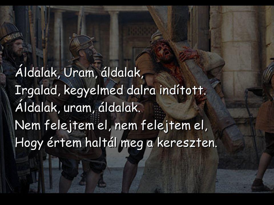 Áldalak, Uram, áldalak, Irgalad, kegyelmed dalra indított. Áldalak, uram, áldalak. Nem felejtem el, nem felejtem el, Hogy értem haltál meg a kereszten