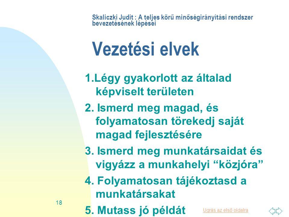 Ugrás az első oldalra 18 Skaliczki Judit : A teljes körű minőségirányítási rendszer bevezetésének lépései Vezetési elvek 1.Légy gyakorlott az általad képviselt területen 2.