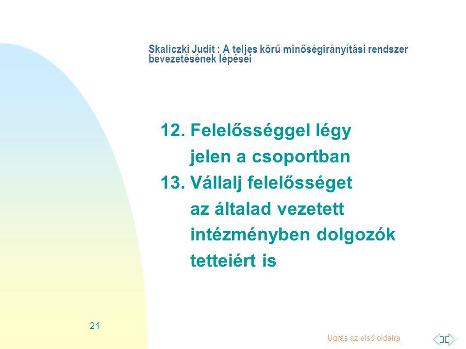 Ugrás az első oldalra 21 Skaliczki Judit : A teljes körű minőségirányítási rendszer bevezetésének lépései 12.