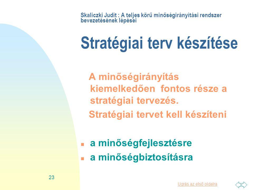 Ugrás az első oldalra 23 Skaliczki Judit : A teljes körű minőségirányítási rendszer bevezetésének lépései Stratégiai terv készítése A minőségirányítás kiemelkedően fontos része a stratégiai tervezés.
