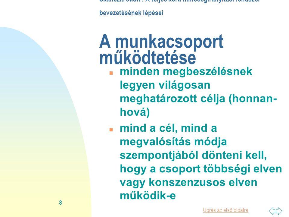 Ugrás az első oldalra 19 Skaliczki Judit : A teljes körű minőségirányítási rendszer bevezetésének lépései 6.