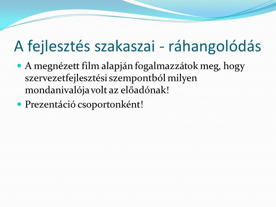 A fejlesztés szakaszai - ráhangolódás A megnézett film alapján fogalmazzátok meg, hogy szervezetfejlesztési szempontból milyen mondanivalója volt az e