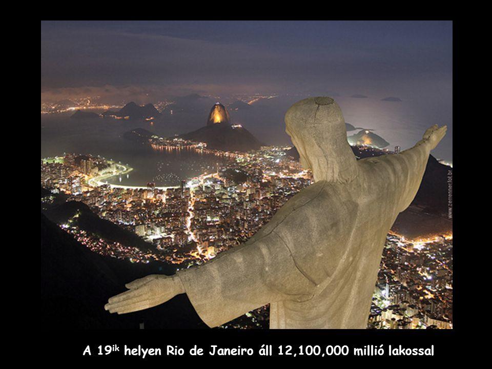 A 19 ik helyen Rio de Janeiro áll 12,100,000 millió lakossal
