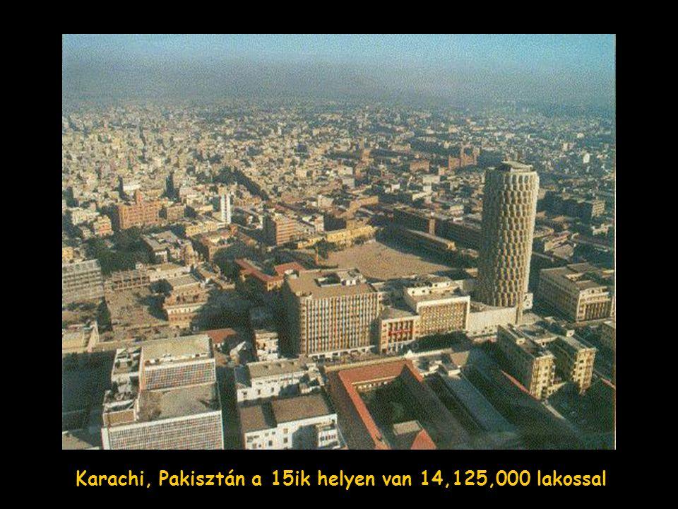 Karachi, Pakisztán a 15ik helyen van 14,125,000 lakossal