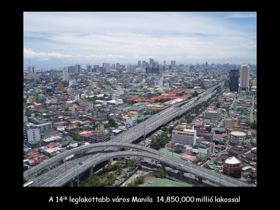 A 14 ik leglakottabb város Manila 14,850,000 millió lakossal