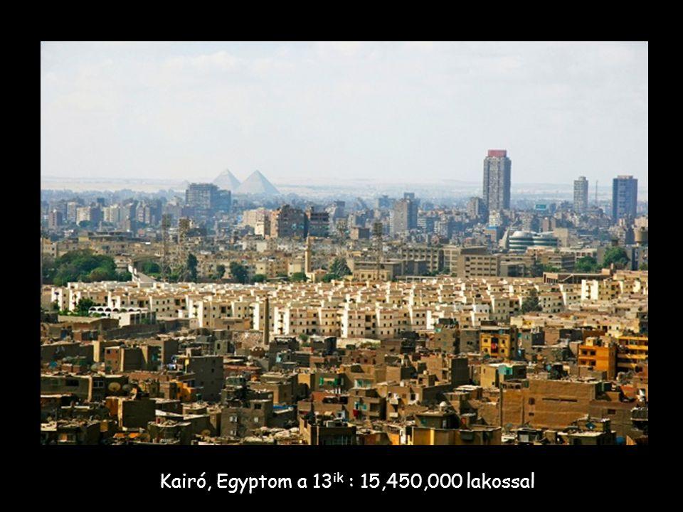 Kairó, Egyptom a 13 ik : 15,450,000 lakossal