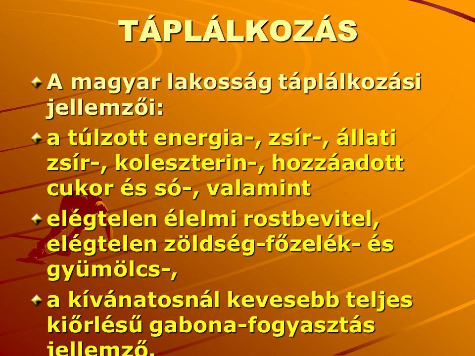 TÁPLÁLKOZÁS A magyar lakosság táplálkozási jellemzői: a túlzott energia-, zsír-, állati zsír-, koleszterin-, hozzáadott cukor és só-, valamint elégtel