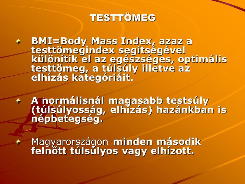 TESTTÖMEG BMI=Body Mass Index, azaz a testtömegindex segítségével különítik el az egészséges, optimális testtömeg, a túlsúly illetve az elhízás kategó