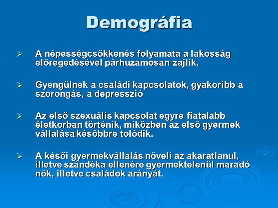 Demográfia  A népességcsökkenés folyamata a lakosság elöregedésével párhuzamosan zajlik.  Gyengülnek a családi kapcsolatok, gyakoribb a szorongás, a