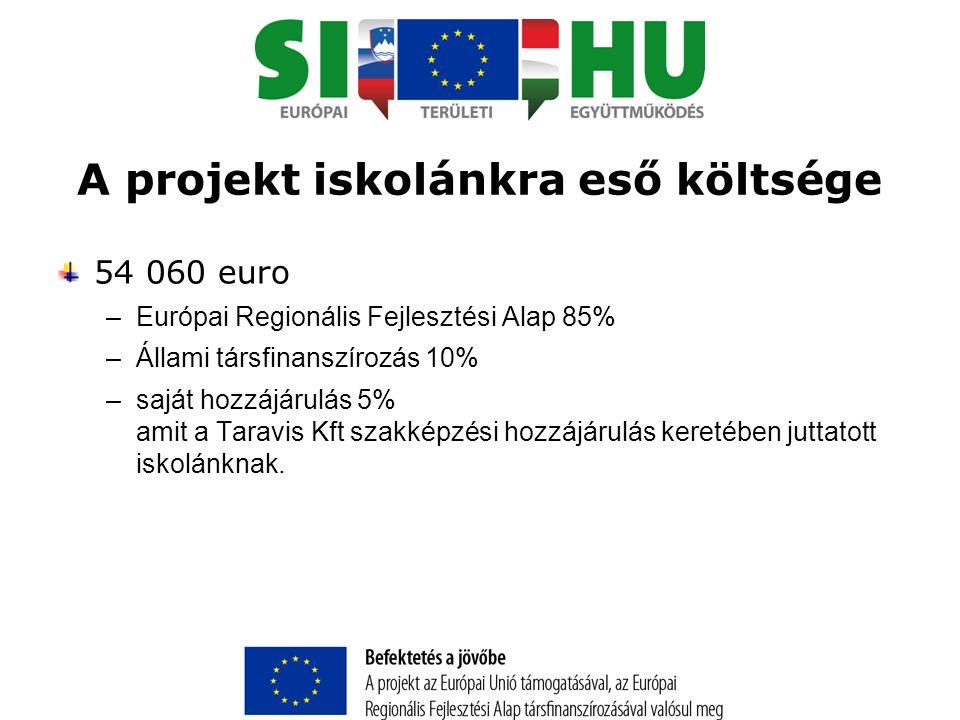 A projekt iskolánkra eső költsége 54 060 euro –Európai Regionális Fejlesztési Alap 85% –Állami társfinanszírozás 10% –saját hozzájárulás 5% amit a Taravis Kft szakképzési hozzájárulás keretében juttatott iskolánknak.
