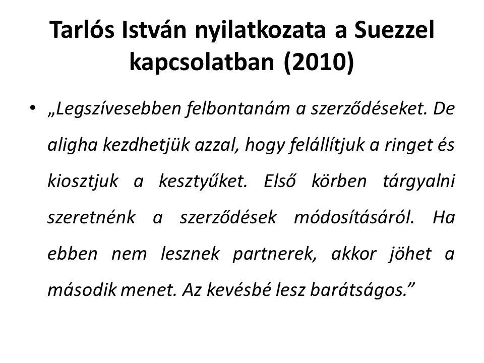 """Tarlós István nyilatkozata a Suezzel kapcsolatban (2010) """"Legszívesebben felbontanám a szerződéseket."""