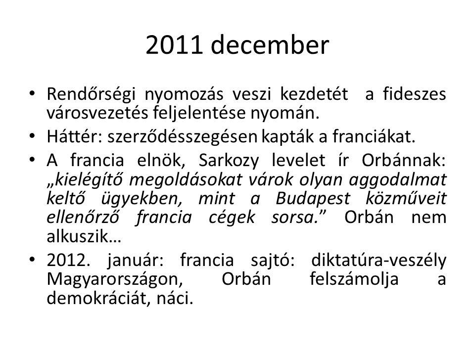 2011 december Rendőrségi nyomozás veszi kezdetét a fideszes városvezetés feljelentése nyomán.