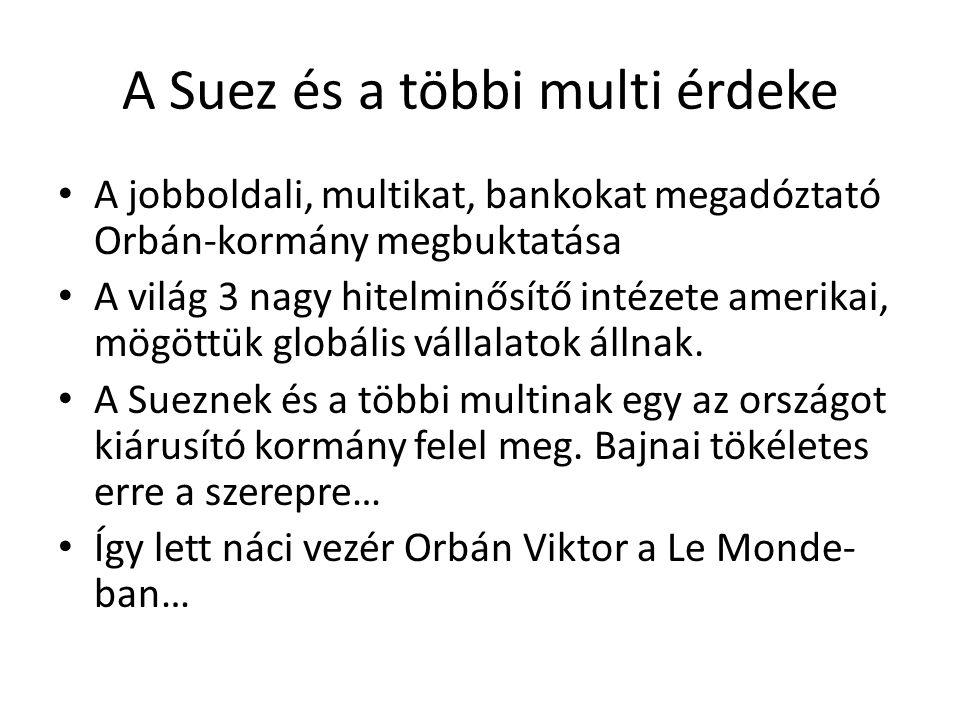 A Suez és a többi multi érdeke A jobboldali, multikat, bankokat megadóztató Orbán-kormány megbuktatása A világ 3 nagy hitelminősítő intézete amerikai, mögöttük globális vállalatok állnak.