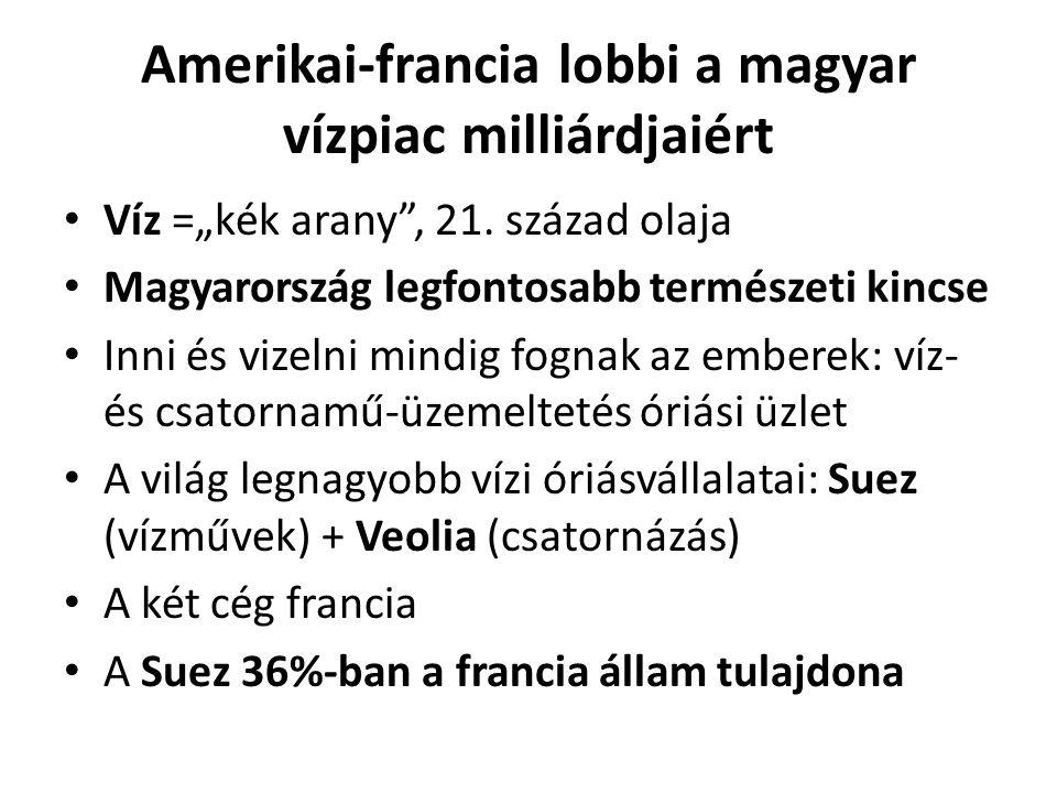 """Amerikai-francia lobbi a magyar vízpiac milliárdjaiért Víz =""""kék arany , 21."""