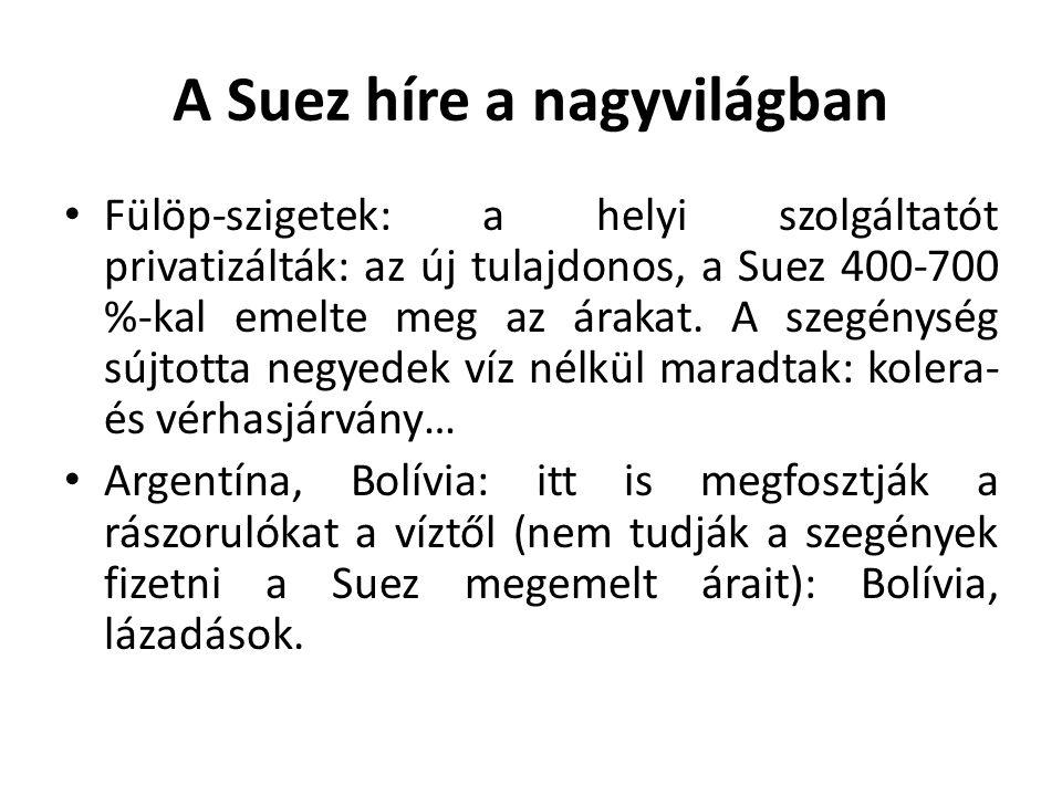 A Suez híre a nagyvilágban Fülöp-szigetek: a helyi szolgáltatót privatizálták: az új tulajdonos, a Suez 400-700 %-kal emelte meg az árakat.