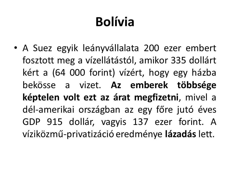 Bolívia A Suez egyik leányvállalata 200 ezer embert fosztott meg a vízellátástól, amikor 335 dollárt kért a (64 000 forint) vízért, hogy egy házba bekösse a vizet.