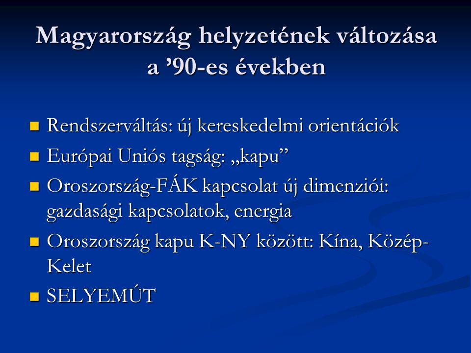 """Magyarország helyzetének változása a '90-es években Rendszerváltás: új kereskedelmi orientációk Rendszerváltás: új kereskedelmi orientációk Európai Uniós tagság: """"kapu Európai Uniós tagság: """"kapu Oroszország-FÁK kapcsolat új dimenziói: gazdasági kapcsolatok, energia Oroszország-FÁK kapcsolat új dimenziói: gazdasági kapcsolatok, energia Oroszország kapu K-NY között: Kína, Közép- Kelet Oroszország kapu K-NY között: Kína, Közép- Kelet SELYEMÚT SELYEMÚT"""