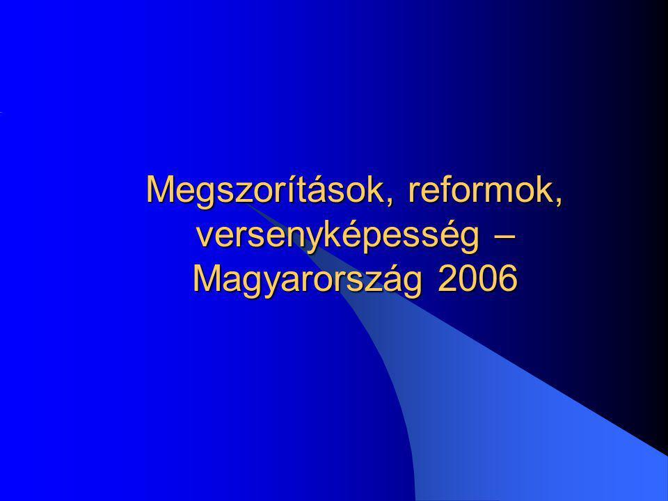 Megszorítások, konvergencia program A GDP 11 %-át kitevő államháztartási hiány az EU-n belül kiugróan magas deficitnek számít (1995-ben a Bokros-csomag okaként kialakult hiány nagysága a GDP 8 %-a volt) A hiány mérséklése a lakosság minden rétegét érintő megszorításokat indokol, rövid távon megmutatkozó egyensúly javulással, tehát azonnal Szeptember 1-én olyan konvergencia programot kellett átadni Brüsszelnek, amiben a költségvetési hiány csökkentését hitelesen meg kellett indokolni.