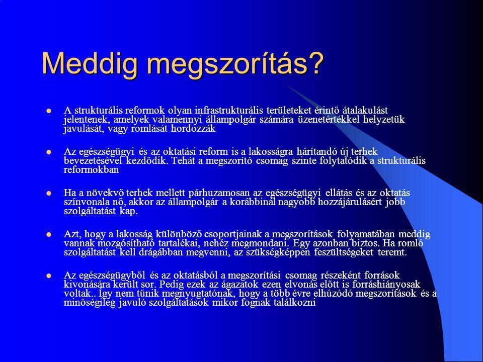 Reformok és versenyképesség Ahhoz, hogy a magyar gazdasági növekedés a konvergencia program szerinti kétéves mélyrepülés után újra a régió legjobb növekedési országai közé soroljon bennünket, javulnia kell a versenyképességnek, azaz csökkenni kell a cégeket terhelő költségeknek Adócsökkentésre van szükség.