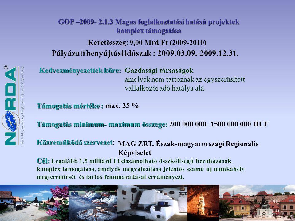 Pályázati benyújtási időszak : 2009.03.09.-2009.12.31.