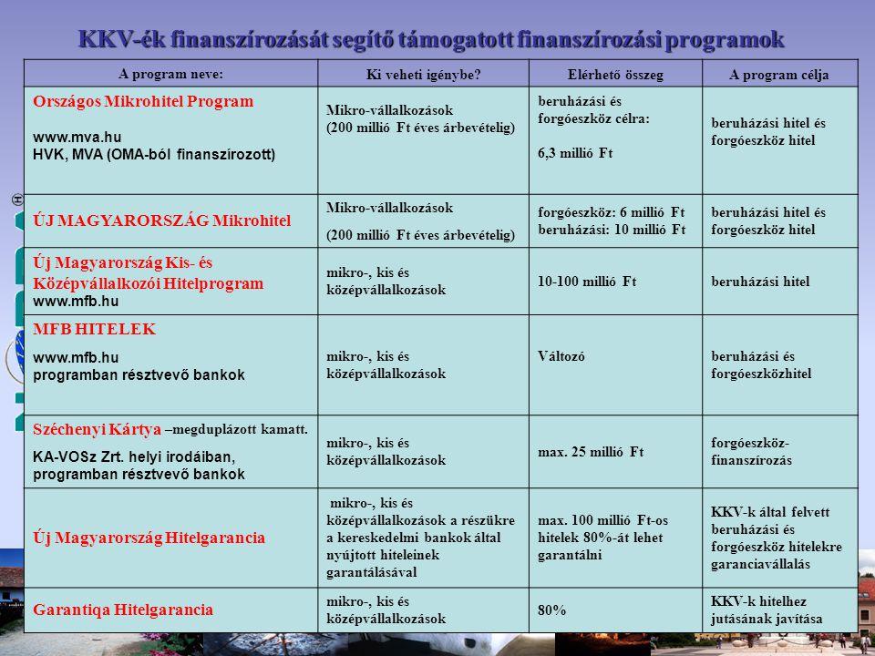 A program neve: Ki veheti igénybe Elérhető összegA program célja Országos Mikrohitel Program www.mva.hu HVK, MVA (OMA-ból finanszírozott) Mikro-vállalkozások (200 millió Ft éves árbevételig) beruházási és forgóeszköz célra: 6,3 millió Ft beruházási hitel és forgóeszköz hitel ÚJ MAGYARORSZÁG Mikrohitel Mikro-vállalkozások forgóeszköz: 6 millió Ft beruházási: 10 millió Ft beruházási hitel és forgóeszköz hitel (200 millió Ft éves árbevételig) Új Magyarország Kis- és Középvállalkozói Hitelprogram www.mfb.hu mikro-, kis és középvállalkozások 10-100 millió Ftberuházási hitel MFB HITELEK mikro-, kis és középvállalkozások Változóberuházási és forgóeszközhitel www.mfb.hu programban résztvevő bankok Széchenyi Kártya –megduplázott kamatt.