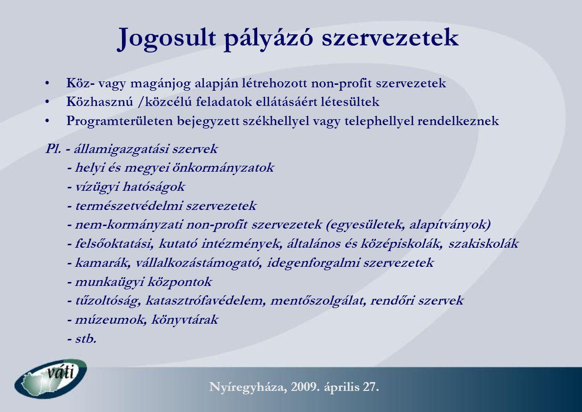Nyíregyháza, 2009. április 27. Jogosult pályázó szervezetek Köz- vagy magánjog alapján létrehozott non-profit szervezetek Közhasznú /közcélú feladatok